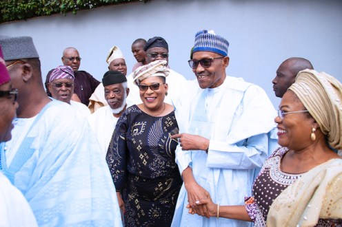 PRESIDENT BUHARI RECEIVES AFENIFERE 8. Immediate Past Deputy Governor, Osun State, Otunba (Mrs.) Grace Titilayo Laoye-Tomori, President Muhammadu Buhari, APC Zonal Women Leader, Mrs Kemi Nelson and others during the Visit of the Afenifere to congratulates him on his reelection for a 2nd term in office held at the Council Chamber, State House Abuja. PHOTO; SUNDAY AGHAEZE. JUNE 25 2019.