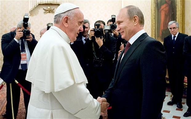Pope Francis and Russian President, Vladimir Putin (Photo Credit: The Telegraph)