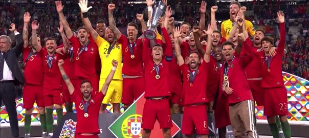 Portugal winning the UEFA Nations League (Photo Credit: troll Football on Twitter)