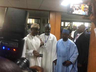 9:27am - Top contenders for speaker and deputy speakership position, Femi Gbajabiamila and Idris Wase arrive the National Assembly