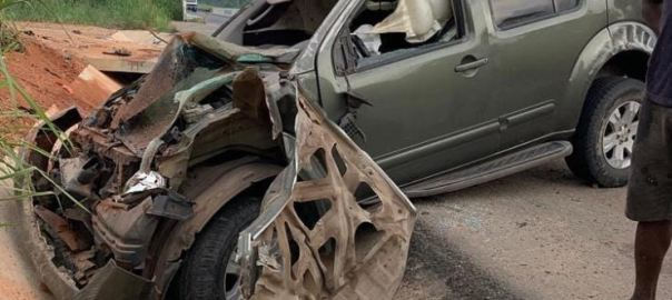 Yul Edochie's damanged car