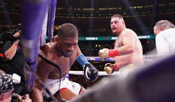 Andy Ruiz Jr., right, has the boxing world reeling after defeating Anthony Joshua, the defending heavyweight champion, on Saturday night at Madison Square [Photo: The New York Times]