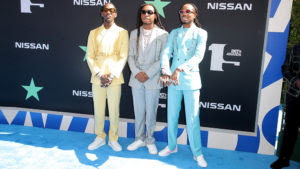 Mandatory Credit: Photo by Chelsea Lauren/Shutterstock (10317961ix) Offset, Takeoff and Quavo of Migos BET Awards, Arrivals, Microsoft Theater, Los Angeles, USA - 23 Jun 2019
