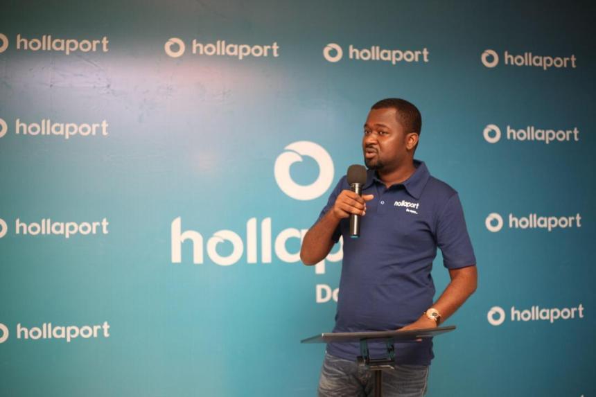 Hollaport Technologies CEO Kabiru Rabiu, at the unveiling of the Hollaport App.