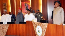 PIC. 8. FROM LEFT: HEAD OF SERVICE OF THE FEDERATION, ALHAJI ISA SALI, SECRETARY TO THE GOVERNMENT