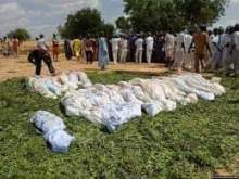 Caption: Locals prepare to bury bodies they recovered after an attack in Kamitau community in Sokoto State on Friday, July 19, 2019.