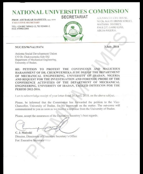NUC response to the petition filed by Mr. Diji
