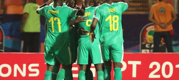 Senegal playing the match