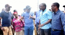 L-R: Head of Service, Mr. Hakeem Muri-Okunola; Secretary to the State Government, Mrs. Folashade Jaji; Lagos State Governor, Mr. Babajide Sanwo-Olu; Permanent Secretary, Ministry of Works and Infrastructure, Engr. Olujimi Hotonu; General Manager, Office of Drainage Services, Ministry of the Environment, Engr. Olalekan Shodeinde and Deputy Governor, Dr. Obafemi Hamzat during an inspection of drainage channels along Abraham Adesanya in Ajah, on Wednesday, July 10, 2019.
