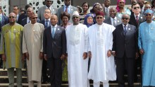 FILE: PRESIDENT BUHARI ATTENDS THE OPENING OF 31ST AU SUMMIT. 4A. President Muhammadu Buhari (3RD LEFT) among others African Leaders during the official opening 0f the 31st Session of African Union (AU) taking place in Nouakchott, Mauritania. PHOTO; SUNDAY AGHAEZE. JULY 1ST 2018 AfCFTA