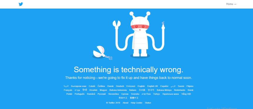 Screen shot of twitter error page