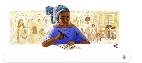 Google doodly of Buchi Emecheta's 75th birthday