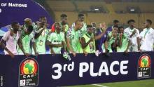 Super Eagles of Nigeria after win against Tunisia to get the Bronze medal