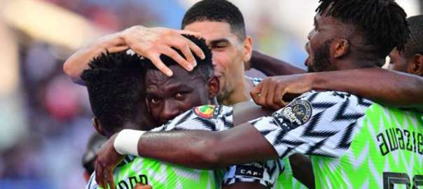 Super Eagles celebrate goal against Cameroon. [Photo: Goal.com]