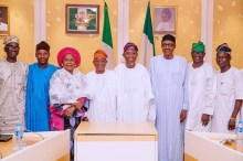 Buhari and APC Southwest leaders. [PHOTO CREDIT: Daily Post Nigeria]