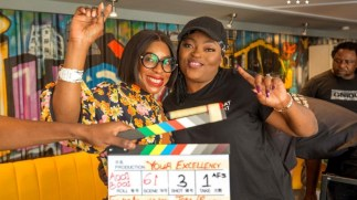 Funke Akindele-Bello and Mo Abudu on the movie set