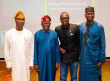 Mr Sanwo-Olu, his deputy, Obafemi Hamzat, and former governors Bola Tinubu and Babatunde Fashola at the retreat. Photo credit: Lagos State government