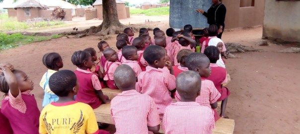Nursery three pupils of LEA Primary School, Kadarko learning under tree