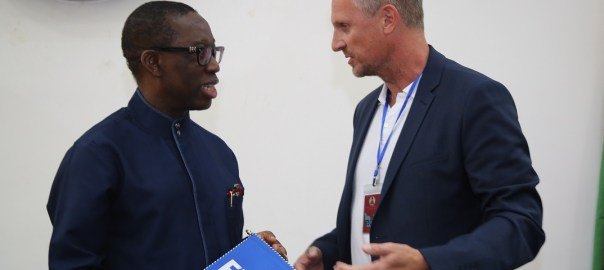 Delta State Governor, Senator Ifeanyi Okowa (left) and Kaj Heyral, during a courtesy call on the Governor, by the FIFA Facility Inspection Team for the Under 20 Women World Cup, held in Government House Asaba. PIX; JIBUNOR SAMUEL.