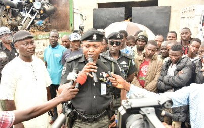 Chairman of the Lagos State Task Force, CSP Saheed Egbeyemi (middle) addressing members of the press on the clampdown on illegal commercial motorcycle operation in the State at Safety Arena, Oshodi, on Friday, August 30, 2019.