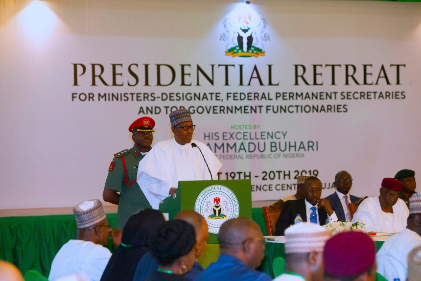 President Muhammadu Buhari at the Presidential Retreat for new ministers