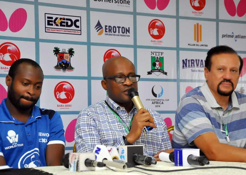 Quadri Executive Chairman, Lagos State Sports Commission (LSSC), Dr Kweku Tandoh and ATTF President at the press conference in Lagos