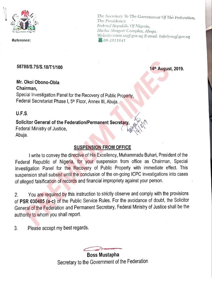 Letter suspending Obono-Obla