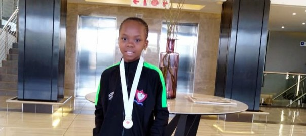 An eight-year-old Stephanie Nigerian girl who recently won gymnastics gold in Pretoria, South Africa