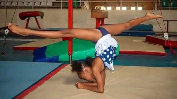 An eight-year-old Stephanie Nigerian girl who recently won gymnastics gold in Pretoria, South Africa