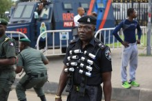 A police officer at the protest