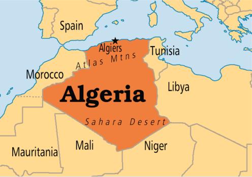 Algeria on map