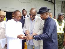 Minister For Aviation, Sen Hadi Sirika [Centre]], Prof. Slyvester Monye[R], Mr. Charles Aniagwu, Commissioner For Information[ L] In A Discussion During The Minister's Inspection Visit To Asab Airport.