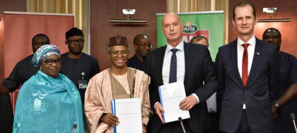 L-R: Deputy Governor of Kaduna State, Dr. Hadiza Balarabe; the Governor of Kaduna State, Malam Nasir El-Rufai, the Vice President (Sub Saharan Africa Region), Arla Foods, Steen Hadsbjerg and Ambassador of Denmark to Nigeria, Jesper Kamp, during the MoU Signing on Partnership between Arla Foods and Kaduna State Government on the Development of Local Dairy Value Chain in Kaduna on Monday.