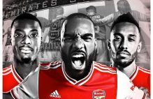 Arsenal FC forwards; Nicholas Pepe, Laccazette and Aubameyang. [PHOTO CREDIT: Arsenal official twitter handle]