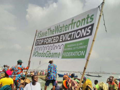 Evictees, during a protest.