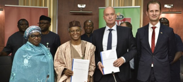 L-R: Deputy Governor, Dr. Hadiza Balarabe, Governor Nasir El-Rufai, Steen Hadsbjerg, Vice-President of Arla and Jesper Kamp, Ambassador of Denmark at the signing of the KDSG-Arla MoU in Kaduna.Photo Credit:KDSG