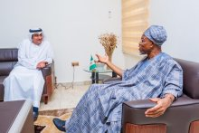 Minister of Interior, Rauf Aregbesola with the UAE Ambassador to Nigeria, HE Dr Fahad Al Taffaq. They discussed ongoing and future collaborations between Nigeria and UAE on internal security management.