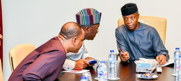 Benue State Governor Samuel Ortom meet with vice president alongside deputy governor of Ebonyi state at the Presidential villa[PHOTO CREDIT: Profosinbajo instagram]