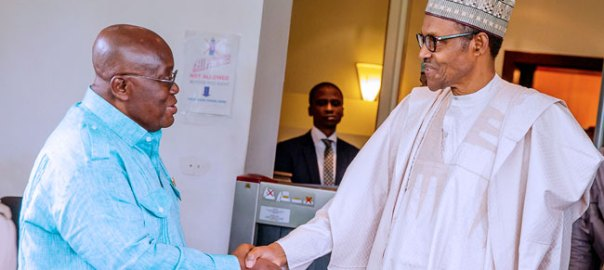 President Muhammadu Buhari and Ghanaian President, Nana Akufo-Addo (Photo Credit: Channels TV)