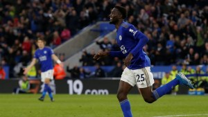 Ndidi celebrates after scoring for Leicester City against Newcastle (Photo Credit: Reuters on Twitter)