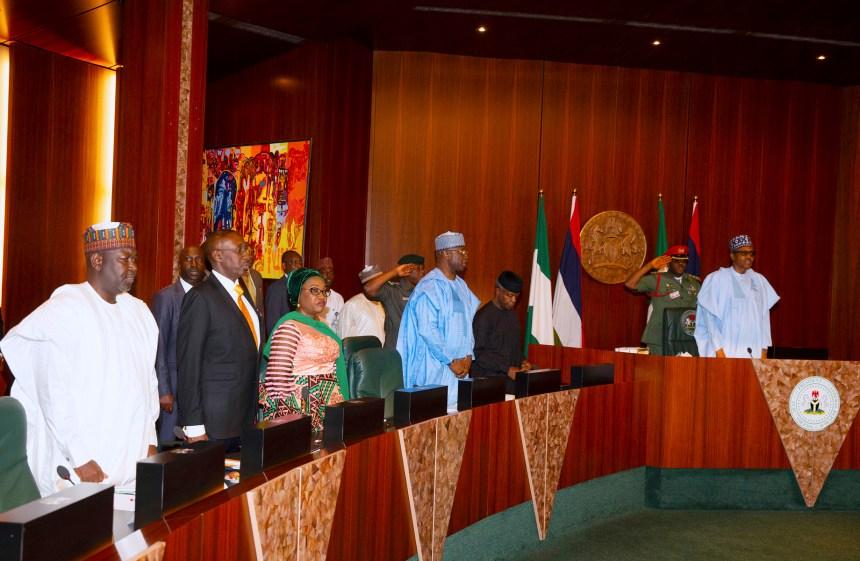 PRESIDENT BUHARI PRESIDES OVER MEDIAN FEC MEETING 3. L-R; President Muhammadu Buhari, Vice President Yemi Osinbajo SAN, SGF Mr. Boss Mustapha, Head of Civil Service of the Federation, Mrs Winifred Oyo-Ita NSA Maj-Gen Babagana Monguno and Miister of State Works and Housing, Alhaji Abubakar Aliyu during the Federal Executive Council (FEC) Meeting held at the Council Chambers, State House Abuja. PHOTO; SUNDAY AGHAEZE. SEPT 11 20192