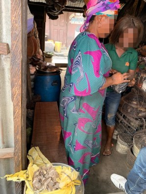 This woman we met at market in Lagos is one of several traders openly selling pangolin scales there. Credit: Samuel Ogundipe / Premium Times