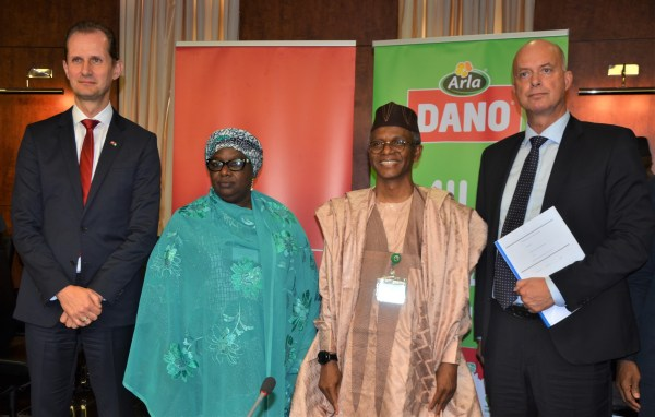 L-R: Ambassador of Denmark to Nigeria, Jesper Kamp; Deputy Governor of Kaduna State, Dr. Hadiza Balarabe; the Governor of Kaduna State, Malam Nasir El-Rufai and the Vice President (Sub Saharan Africa Region), Arla Foods, Steen Hadsbjerg during the MoU Signing on Partnership between Arla Foods and Kaduna State Government on the Development of Local Dairy Value Chain in Kaduna on Monday.