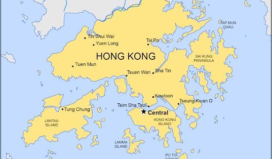 Hong-Kong on map