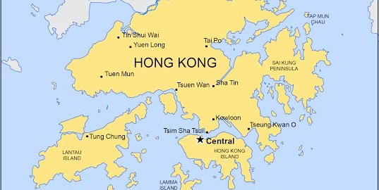 Hong Kong on map