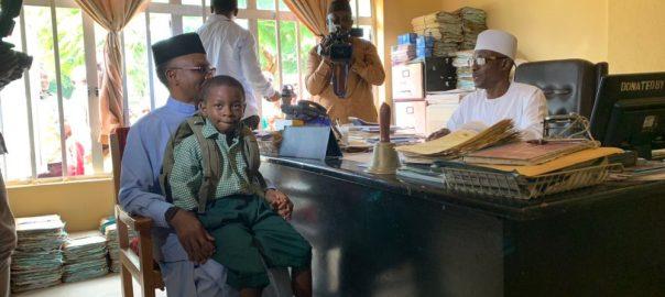 El-Rufai enrols son in public primary school. [PHOTO CREDIT: Rufai's Twitter handle]