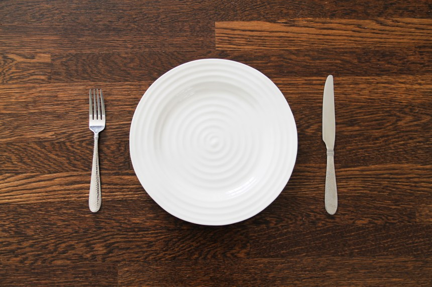 Empty plate fork knife [Good Stock Photo]