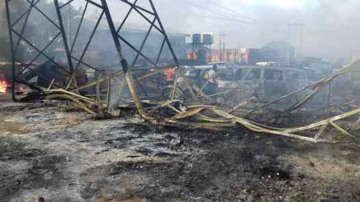 Burnt tower in Asaba in October 2018