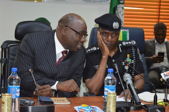Chairman of the ICPC, Bolaji Owasanoye, and the Inspector General of Police, Mohammed Adamu, in a meeting. [PHOTO CREDIT: NAN]