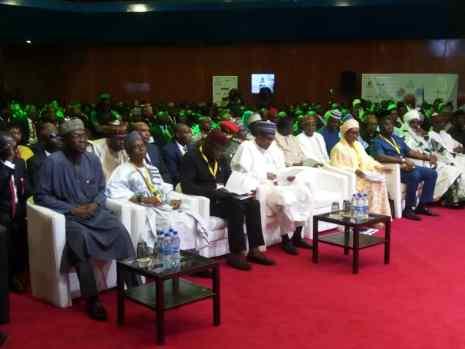 President Buhari, Nasir El- Rufai, Zainab Ahmed at the NESG 25th Anniversary.